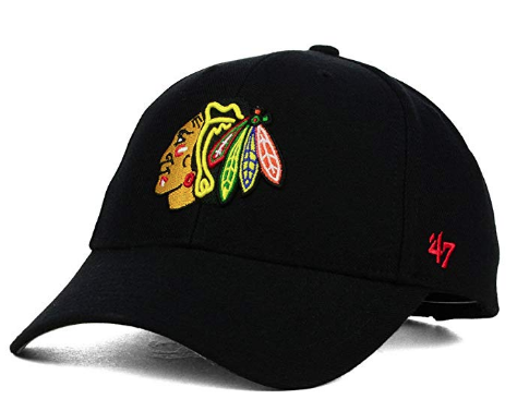 '47 NHL Chicago Blackhawks Primary Logo Black MVP Adjustable Hat