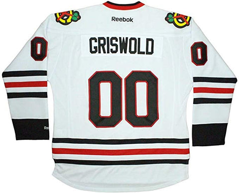 Men's Clark Griswold Christmas Vacation Chicago Blackhawks White Reebok Authentic Jersey