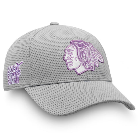 Men's Chicago Blackhawks 2019 Gray Flex Fit Hockey Fights Cancer Hat