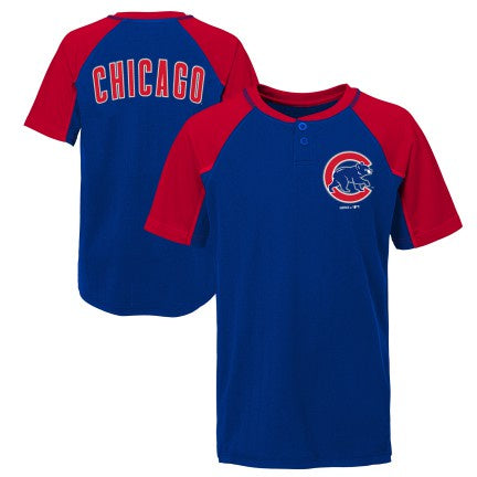 Youth Chicago Cubs MLB At The Plate Short Sleeve Henley Tee