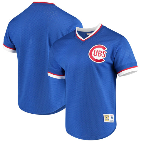 Men's Chicago Cubs Mitchell & Ness Blue Mesh V-Neck Jersey