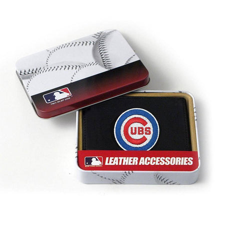 Chicago Cubs Men's Black Leather Tri-fold Wallet - Pro Jersey Sports - 1