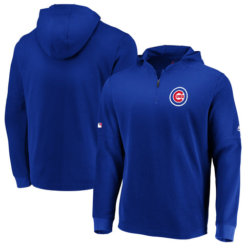 Men's Chicago Cubs Authentic Collection BP Waffle Long Sleeve Hooded Top