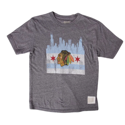 Men's Chicago Blackhawks Distressed Retro Brand Gray Skyline Tee