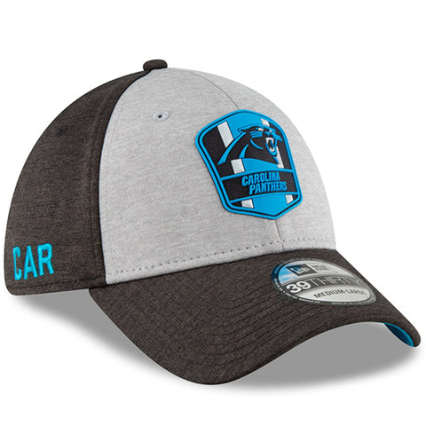 Men's Carolina Panthers New Era Heather Gray/Black NFL18 Sideline Road Official 39THIRTY Flex Hat