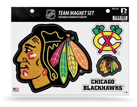 BLACKHAWKS TEAM MAGNET SHEET-Glitter