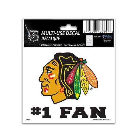 "CHICAGO BLACKHAWKS #1 FAN MULTI-USE DECAL 3"" X 4"" - Pro Jersey Sports"