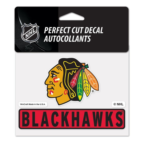 "CHICAGO BLACKHAWKS PERFECT CUT COLOR DECAL 4.5"" X 5.75"" - Pro Jersey Sports"