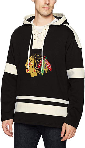 Chicago Blackhawks Mens Grant Fleece Lace Up Hood By Old Time Hockey
