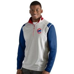 Mens Chicago Cubs Antigua Gray/Royal/Red  Automatic 1/4 Zip Track Jacket