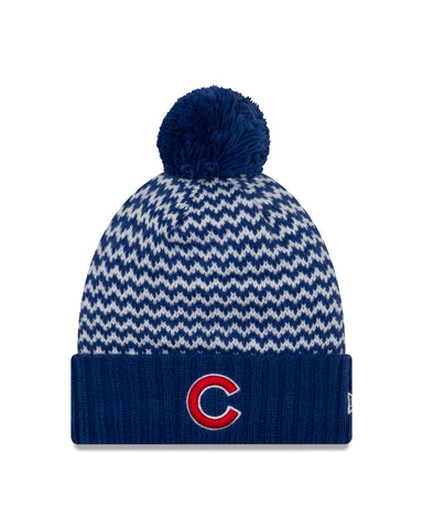 Women's Chicago Cubs New Era Patterned Cuffed Knit Hat With Pom