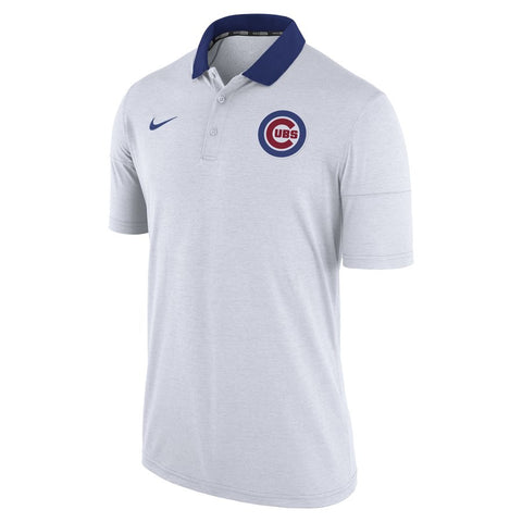 Men's Chicago Cubs Nike Heather White GM Touch Polo
