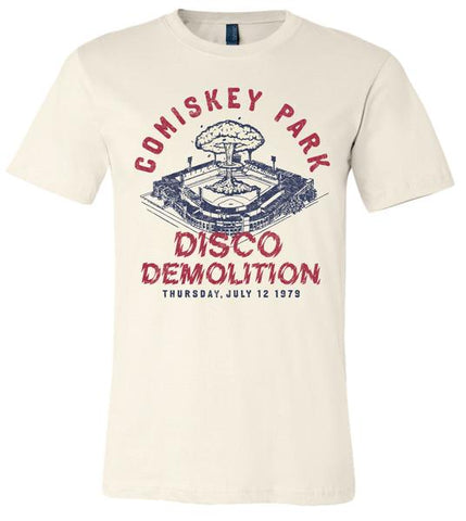 Men's Adult Comiskey Park Disco Demolition Soft Cream Short Sleeve Tee