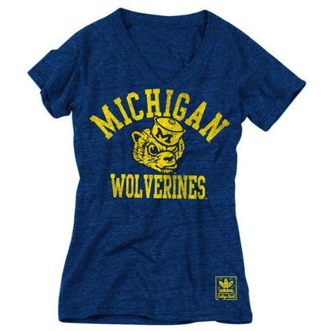 NCAA Womens adidas Michigan Wolverines Her Homecoming Tri-Blend V-Neck T-Shirt - Navy Blue