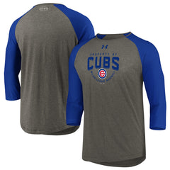 Men's Chicago Cubs Under Armour Heathered Gray/Blue Tri-Blend Property Of 3/4-Sleeve Performance T-Shirt
