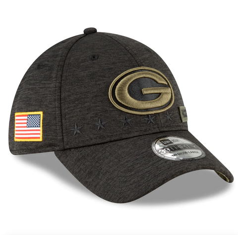 Men's Green Bay Packers New Era Heather Black 2020 Salute to Service 39THIRTY Flex Hat