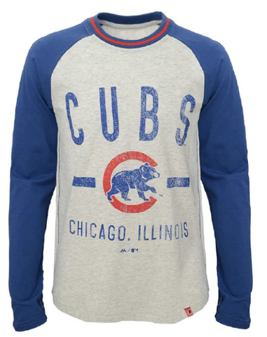 Youth Chicago Cubs Royal Majestic Long Sleeve Our Home Raglan T Shirt