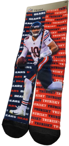 "Chicago Bears Mens Mitch Trubisky ""Say My Name"" Socks by For Bare Feet"