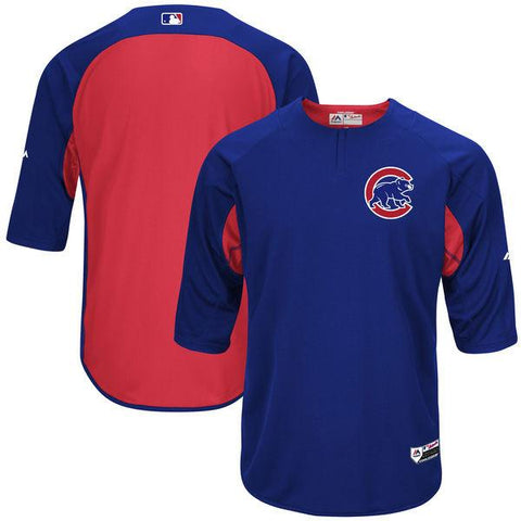 Men's Chicago Cubs Majestic Royal/Red Authentic Collection On-Field 3/4-Sleeve Batting Practice Jersey