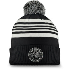Men's Chicago Blackhawks Fanatics Branded Black 2019 Winter Classic Cuffed Pom Knit Hat