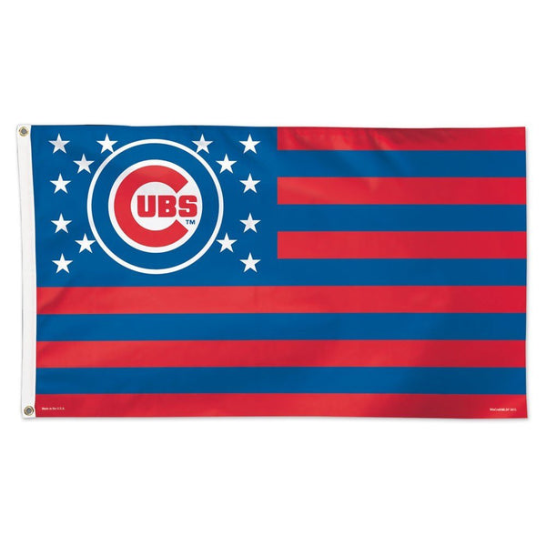 Chicago Cubs Stars And Stripes Flag Deluxe 3 X 5