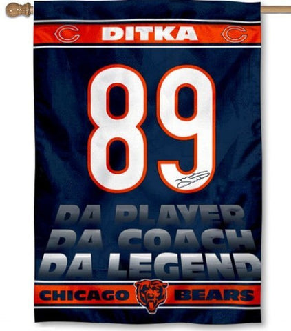 MIKE DITKA CHICAGO BEARS 1 SIDED HOUSE FLAG - Pro Jersey Sports