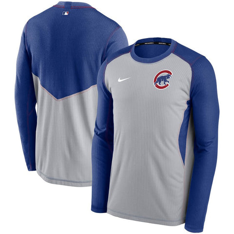 Men's Chicago Cubs Nike Royal/Gray Authentic Collection Game Performance Long Sleeve Dri-Fit Tee