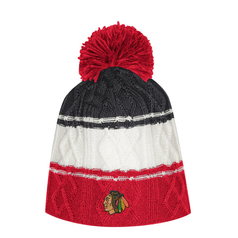 Adidas Chicago Blackhawks Authentic Womens Collection Beanie Hat With Pom