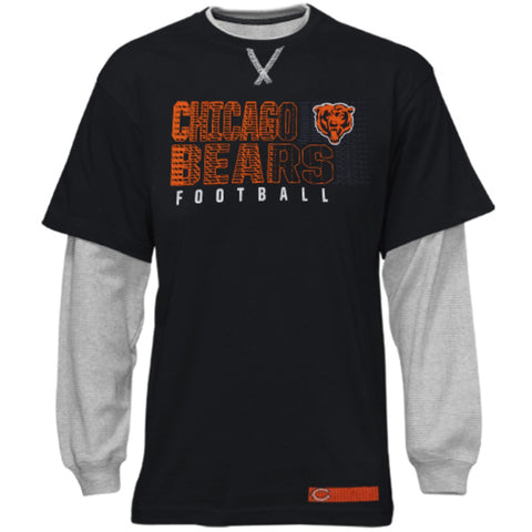 Chicago Bears Youth Faux Layer Long Sleeve T-Shirt - Navy Blue/Ash