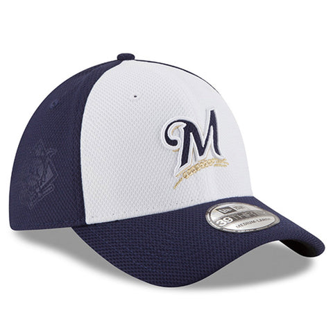 Men's Milwaukee Brewers New Era White/Navy Road Diamond Era 39THIRTY Flex Hat