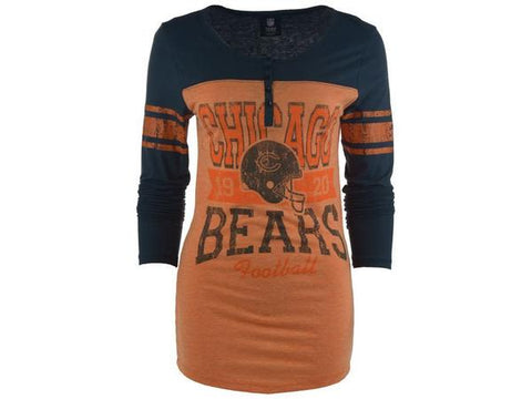 Womens Chicago Bears Long Sleeve Button Vintage T-Shirt