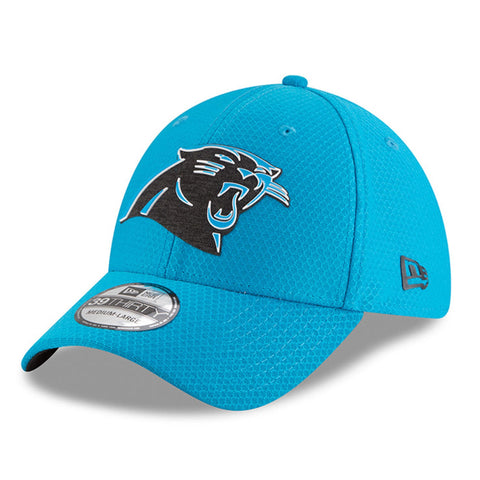 Mens New Era Carolina Panthers Blue 2018 NFL Training Camp Primary 39THIRTY Flex Hat