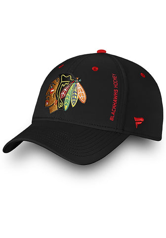 Chicago Blackhawks Mens Black Authentic Pro Rinkside Speed Flex Hat