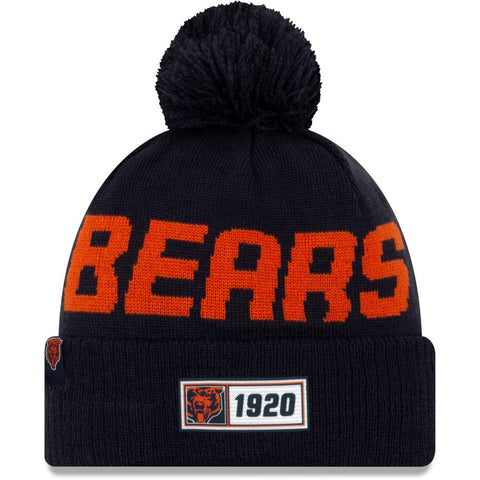Chicago Bears New Era 2019 NFL Sideline Road Historic Logo Sport Knit Hat