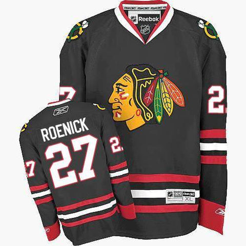 Chicago Blackhawks Mens Jeremy Roenick Premier Black Alternate Jersey with DOUBLE LAYERED PRO TACKLE-TWILL LETTERING