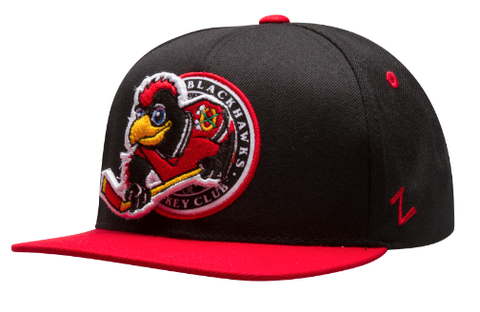 Chicago Blackhawks Youth Black and Red Tommy Hawk Pop-Up Snapback Hat