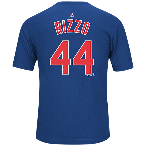 Mens Chicago Cubs Anthony Rizzo Synthetic Name & Number Tee By Majestic
