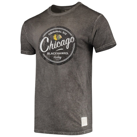 Men's Chicago Blackhawks Original 6 Oil Wash Retro Brand Tee