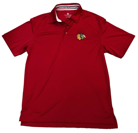 Chicago Blackhawks RPM Back Stripe Polo By Levelwear-Red