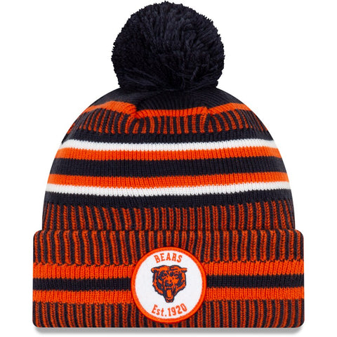 Men's New Era Navy/Orange Chicago Bears 2019 NFL Bear Head Logo Sideline Home Official Historic Logo Sport Knit Hat