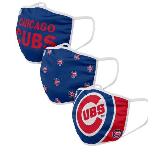 Adult Chicago Cubs FOCO Cloth Face Covering 3-Pack