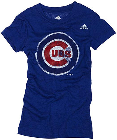 Youth Girls MLB Chicago Cubs Short Sleeve Longer Length Burnout Tee