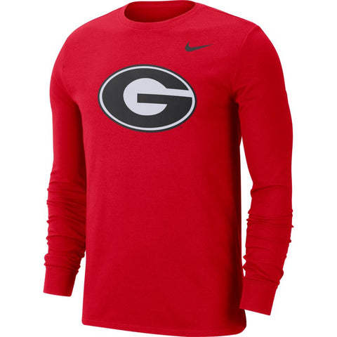 Men's Georgia Bulldogs Long Sleeve Red College Nike Dri-Fit Tee