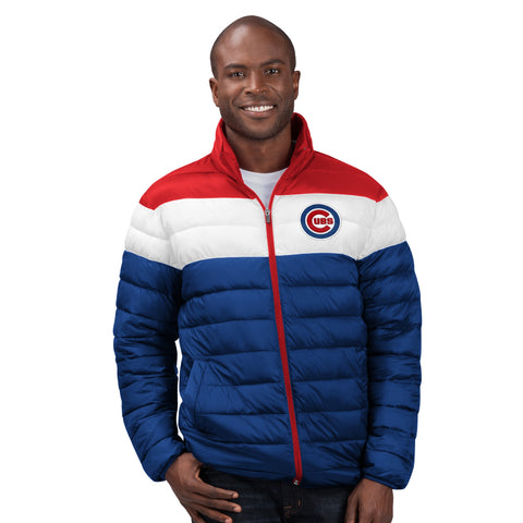 Men's Chicago Cubs Cold Front Polly Filled Nylon Full Zip Jacket By G-III