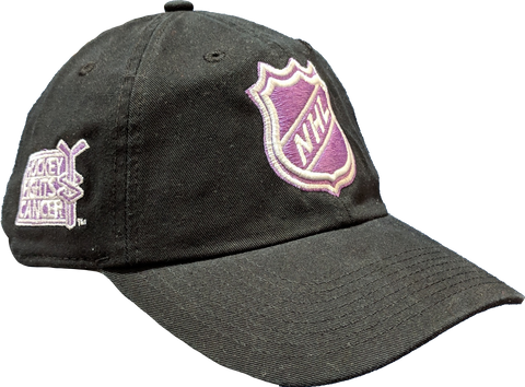 Men's NHL Shield Logo Fanatics Branded Black Hockey Fights Cancer Slider Adjustable Hat