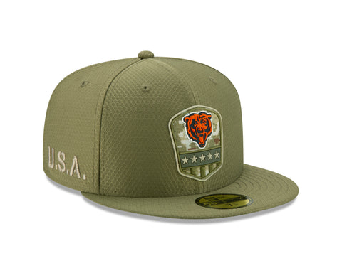 Chicago Bears 2019 Salute To Service Green New Era 59FIFTY Fitted Hat
