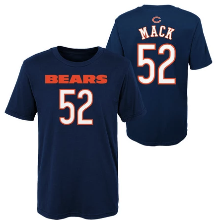 Youth Chicago Bears Khalil Mack Navy Mainliner Name & Number T-Shirt