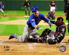 Ben Zobrist Chicago Cubs 2016 World Series Game 6 Home Plate Collision Photo