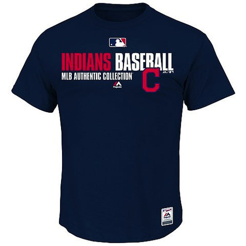 Men's MLB Cleveland Indians Navy Authentic Collection Team Favorite T-Shirt