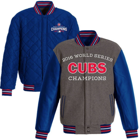 Mens Chicago Cubs JH Design Gray/Royal 2016 World Series Champions Commemorative Melton/Polyester Reversible Jacket
